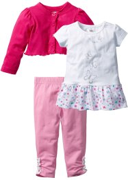 Baby Bolero + T-Shirt + Leggings (3-tlg.) Bio-Baumwolle, bpc bonprix collection, dunkelpink/weiß/rosa