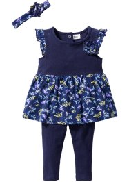 Baby Kleid + Leggings + Stirnband (3-tlg.) Bio-Baumwolle, bpc bonprix collection
