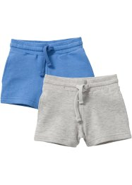 Sweatshorts (2er-Pack), bpc bonprix collection, natur meliert+mittelblauu meliert