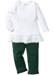 Langarmshirt + 7/8 Leggings (2-tlg. Set), bpc bonprix collection, weiß/dunkelgrün
