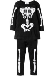 Kleid + Leggings mit Skelettdruck Halloween (2-tlg. Set), bpc bonprix collection, schwarz bedruckt