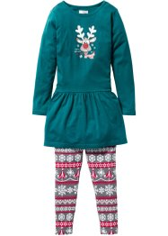 Weihnachtliches Outfit (2-tlg. Set), bpc bonprix collection, petrol/grau/rot gemustert