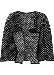 Drapierter Cardigan, bpc bonprix collection, schwarz/wollweiß meliert