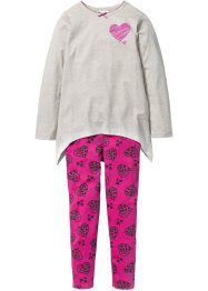Pyjama, bpc bonprix collection, naturmeliert/mittelfuchsia