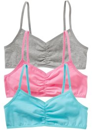 Bustier (3er-Pack), bpc bonprix collection, aqua,rosa,hellgrau meliert
