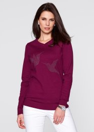 Pullover mit Vogel-Schmucksteinapplikation, bpc selection