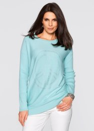 Long-Pullover mit Peace-Dekosteinapplikation, bpc selection, aquapastell