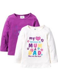 Baby Langarmshirt (2er-Pack) Bio-Baumwolle, bpc bonprix collection, pfingstrose/wollweiß