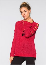 Strickpullover mit Cut-Outs, RAINBOW, rot