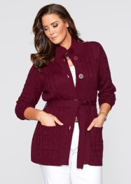 Long-Strickjacke mit Zopfmuster, bpc selection, ahornrot
