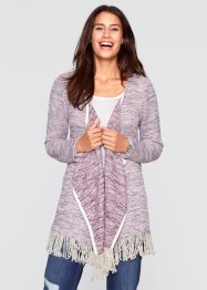 Long Strickjacke, Langarm - designt von Maite Kelly, bpc bonprix collection, ahornrot/wollweiß meliert