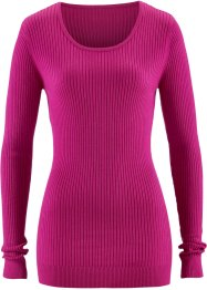 Rundhals-Pullover, bpc bonprix collection, mittelfuchsia