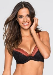 Push-up BH, BODYFLIRT, marsala/schwarz