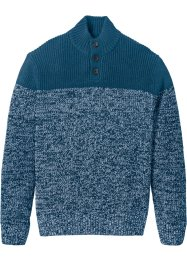 Pullover Regular Fit, bpc selection, blaupetrol/weiß