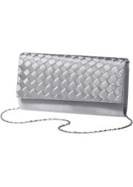 Satin Clutch in Flechtoptik, bpc bonprix collection, grau