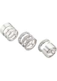 Ringset 3tlg. strass, bpc bonprix collection, silberfarben