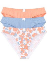 Slip (3er-Pack), bpc bonprix collection, bedruckt + blau + papaya