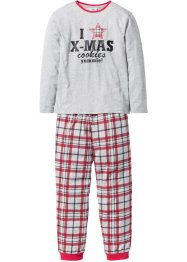 Kinder Pyjama Weihnachten (2-tlg. Set), bpc bonprix collection, hellgrau meliert