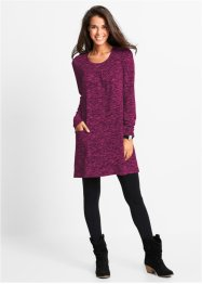 Langarm-Shirt-Kleid in Melange-Optik, bpc bonprix collection, mittelfuchsia/dunkelblau meliert