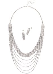 Glitzer-Set Kette + Ohrring, bpc bonprix collection, silberfarben