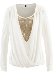 Shirtbluse mit Pailletten, bpc selection, wollweiß/gold