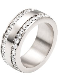 Edelstahl-Ring mit Strass, bpc bonprix collection