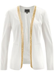 Blazer mit Pailletten, bpc selection, wollweiß/gold