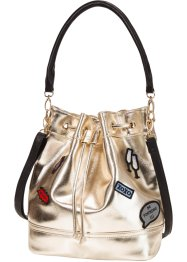 "Beuteltasche mit Patches ""Marcell von Berlin for bonprix"", bpc bonprix collection, gold"