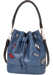 "Beuteltasche mit Patches ""Marcell von Berlin for bonprix"", bpc bonprix collection, dunkelblau"