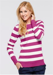 Basic Baumwollstrick-Pullover, bpc bonprix collection, violettorchidee/wollweiß gestreift