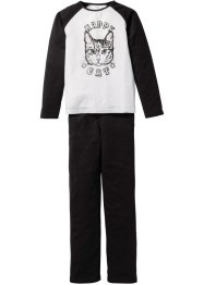 Pyjama (2-tlg. Set), bpc bonprix collection, schwarz/weiß