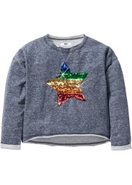 Sweatshirt mit Paillettenapplikation, bpc bonprix collection, grau meliert