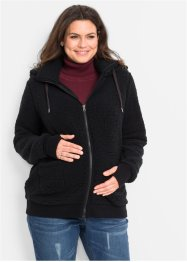 Umstandsjacke aus Teddy-Fleece, bpc bonprix collection, schwarz