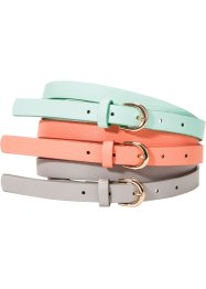3er Set Gürtel, bpc bonprix collection, light grey, pastel mint, salmon