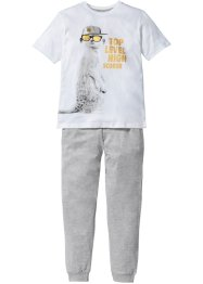 Pyjama (2-tlg. Set), bpc bonprix collection, weiß/blaupetrol