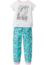 Pyjama (2-tlg. Set), bpc bonprix collection, wollweiß/aqua