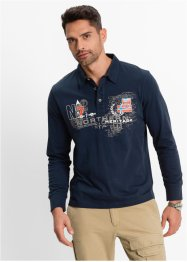 Langarmpoloshirt, bpc bonprix collection, dunkelblau