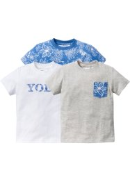 T-Shirt (3er-Pack), bpc bonprix collection, blue bleached+weiß+naturmeliert