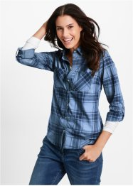Bluse, bpc bonprix collection, perlblau/dunkelblau kariert