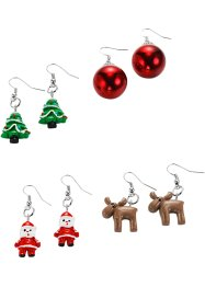 4 Paar Ohrringe Christmas, bpc bonprix collection, silberfarben/multi