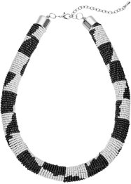 Collier bunte Perlen, bpc bonprix collection, schwarz/weiß/silberfarben