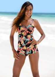 Tankini Oberteil, bpc bonprix collection, schwarz/orange bedruckt