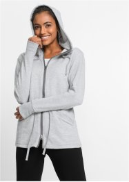 Langarm-Wellness-Sweatjacke, bpc bonprix collection, hellgrau meliert