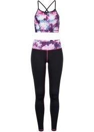 Sport-Top + Leggings (2-tlg.), bpc bonprix collection, schwarz bedruckt