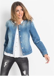 Jeansjacke mit Steinchen-Verzierung, BODYFLIRT, medium blue denim