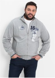 Sweatjacke mit Stehkragen Regular Fit, bpc selection, hellgrau meliert