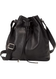 Lederbeuteltasche, bpc bonprix collection, schwarz