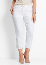 Premium 7/8-Stretchjeans mit Stickerei, bpc selection premium, weiss twill