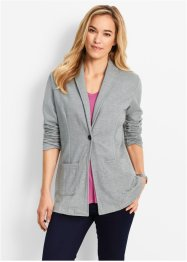 Long-Blazer, Langarm, bpc bonprix collection, hellgrau meliert