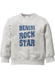 Sweatshirt, bpc bonprix collection, naturmeliert/jeansblau bedruckt